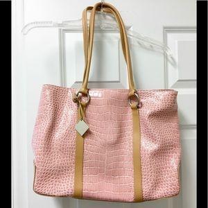 Pretty BCBGirls large pink faux crocodile bag
